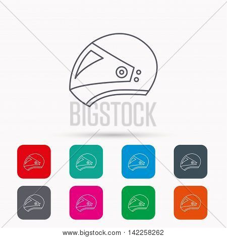 Motorcycle helmet icon. Biking sport sign. Linear icons in squares on white background. Flat web symbols. Vector
