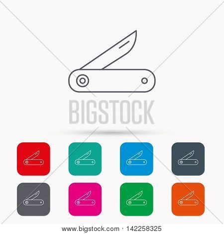 Multitool knife icon. Multifunction tool sign. Hiking equipment symbol. Linear icons in squares on white background. Flat web symbols. Vector