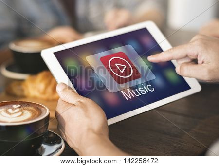 Music Player Button Application Icon Graphic Concept