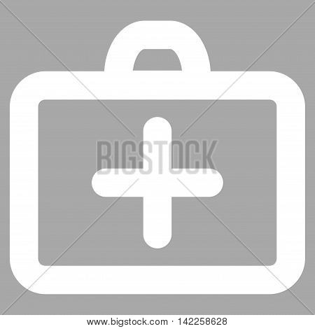 First Aid vector icon. Style is linear flat icon symbol, white color, silver background.