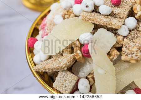 Candy comfit Chinese sweetmeat made of many ingredients
