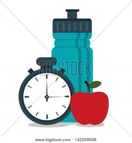botttle apple chronometer healthy lifestyle fitness icon. Colorfull illustration. Vector graphic