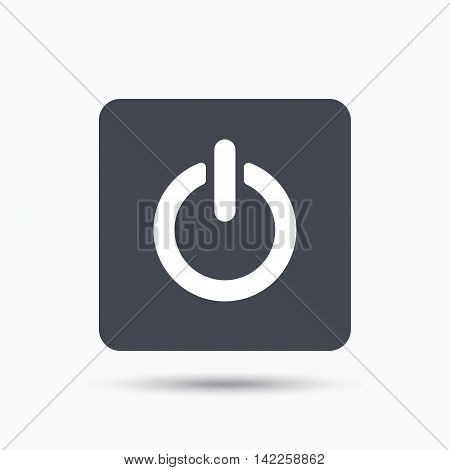 On, off power icon. Energy switch symbol. Gray square button with flat web icon. Vector