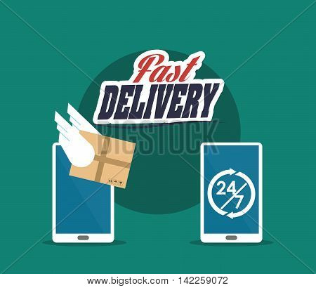 smartphone chronometer box package fast delivery shipping icon. Colorfull illustration. Vector graphic
