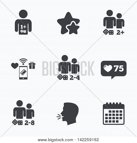 Gamer icons. Board games players sign symbols. Flat talking head, calendar icons. Stars, like counter icons. Vector