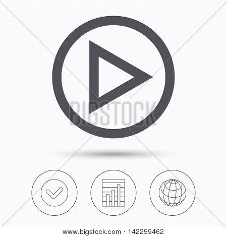 Play icon. Audio or Video player symbol. Check tick, graph chart and internet globe. Linear icons on white background. Vector