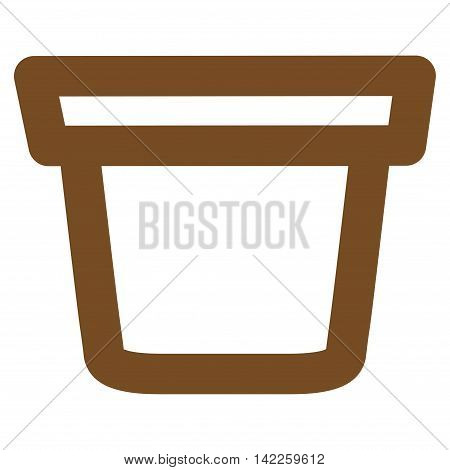 Pail vector icon. Style is linear flat icon symbol, brown color, white background.