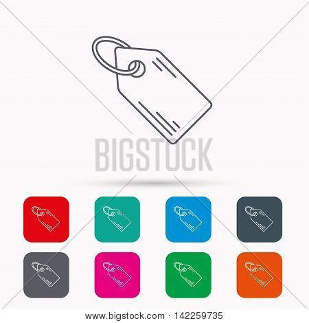 Price tag icon. Discount label sign. Shopping coupon symbol. Linear icons in squares on white background. Flat web symbols. Vector