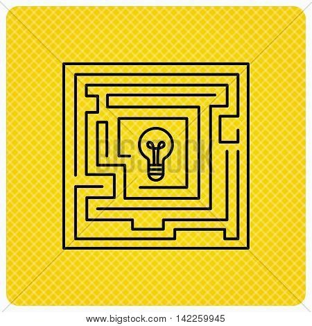 Labyrinth icon. Problem challenge sign. Find solution symbol. Linear icon on orange background. Vector