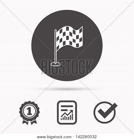 Racing flag icon. Finishing symbol. Report document, winner award and tick. Round circle button with icon. Vector