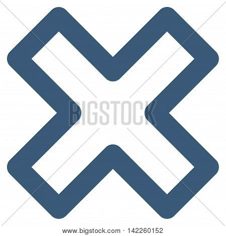 Delete X-Cross vector icon. Style is contour flat icon symbol, blue color, white background.