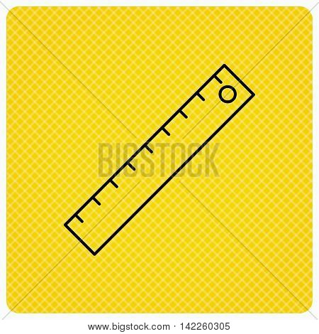 Ruler icon. Straightedge sign. Geometric symbol. Linear icon on orange background. Vector