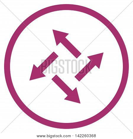 Centrifugal Arrows vector icon. Style is flat rounded iconic symbol, centrifugal arrows icon is drawn with purple color on a white background.