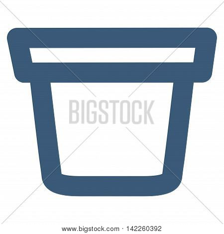 Pail vector icon. Style is outline flat icon symbol, blue color, white background.