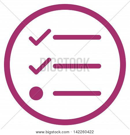 Checklist vector icon. Style is flat rounded iconic symbol, checklist icon is drawn with purple color on a white background.