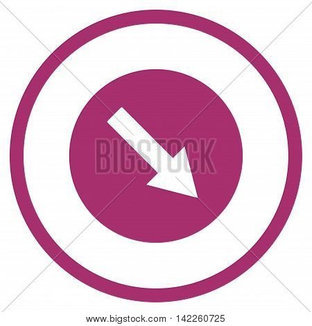 Down-Right Rounded Arrow vector icon. Style is flat rounded iconic symbol, down-right rounded arrow icon is drawn with purple color on a white background.