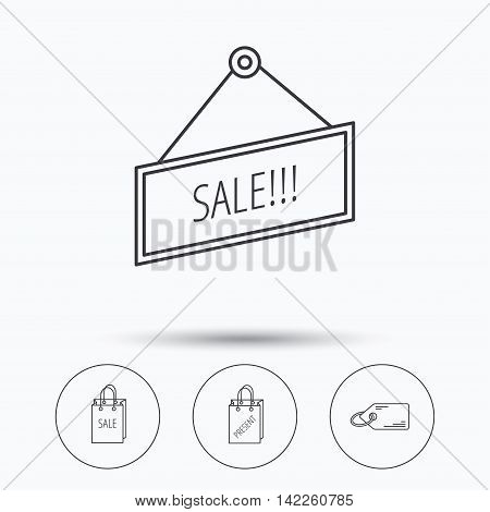 Sale, present bag and price tag icons. Special offer linear signs. Linear icons in circle buttons. Flat web symbols. Vector