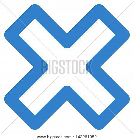 Delete X-Cross vector icon. Style is linear flat icon symbol, cobalt color, white background.