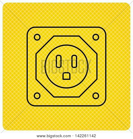 USA socket icon. Electricity power adapter sign. Linear icon on orange background. Vector