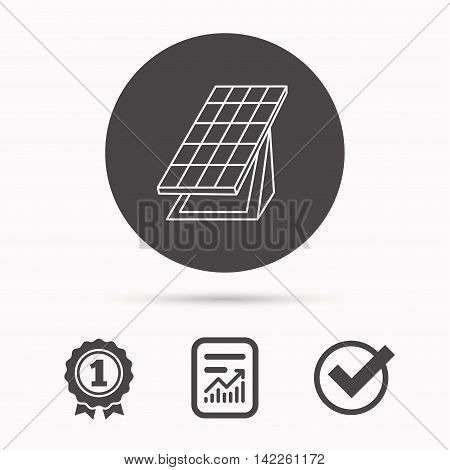 Solar collector icon. Sunlight energy generation sign. Innovation battery power symbol. Report document, winner award and tick. Round circle button with icon. Vector
