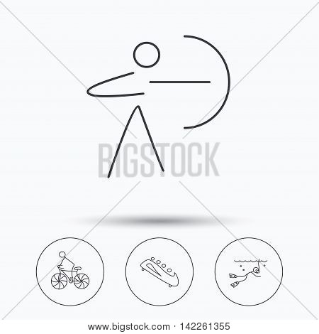 Diving, biking and archery icons. Bobsled linear sign. Linear icons in circle buttons. Flat web symbols. Vector