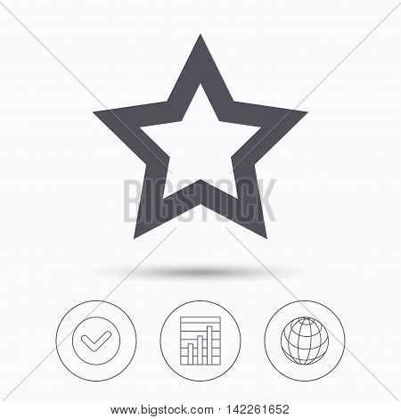 Star icon. Favorite or best sign. Web ranking symbol. Check tick, graph chart and internet globe. Linear icons on white background. Vector