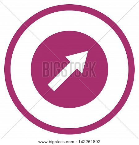 Up-Right Rounded Arrow vector icon. Style is flat rounded iconic symbol, up-right rounded arrow icon is drawn with purple color on a white background.