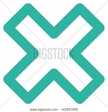 Delete X-Cross vector icon. Style is contour flat icon symbol, cyan color, white background.