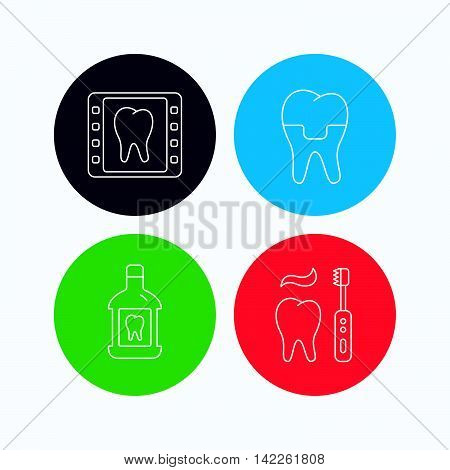 Dental crown, x-ray and brushing teeth icons. Mouthwash linear sign. Linear icons on colored buttons. Flat web symbols. Vector