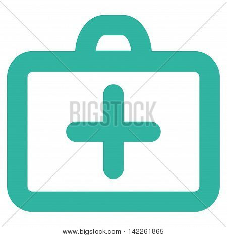 First Aid vector icon. Style is stroke flat icon symbol, cyan color, white background.