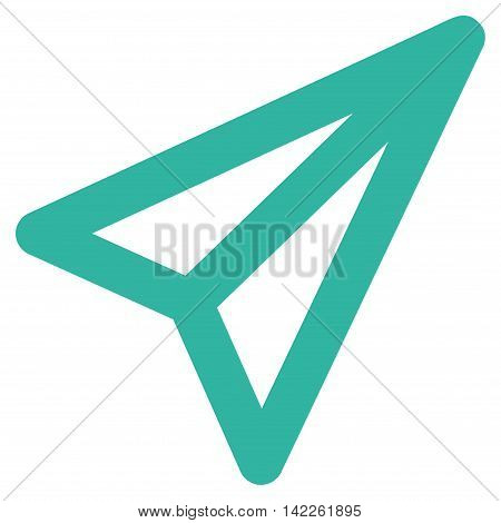 Freelance vector icon. Style is outline flat icon symbol, cyan color, white background.
