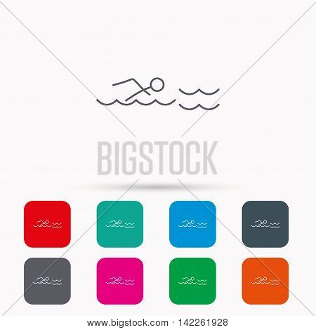 Swimming icon. Swimmer in waves sign. Professional sport symbol. Linear icons in squares on white background. Flat web symbols. Vector