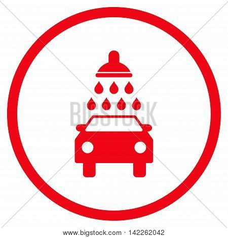 Car Wash vector icon. Style is flat rounded iconic symbol, car wash icon is drawn with red color on a white background.