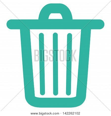 Trash Can vector icon. Style is contour flat icon symbol, cyan color, white background.