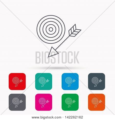 Target with arrow icon. Dart aim sign. Linear icons in squares on white background. Flat web symbols. Vector