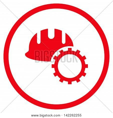 Development Hardhat vector icon. Style is flat rounded iconic symbol, development hardhat icon is drawn with red color on a white background.