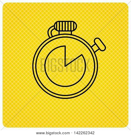 Timer icon. Stopwatch sign. Sport competition symbol. Linear icon on orange background. Vector