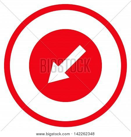 Down-Left Rounded Arrow vector icon. Style is flat rounded iconic symbol, down-left rounded arrow icon is drawn with red color on a white background.
