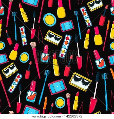 Makeup tools and bottles seamless pattern. Background with mascara, false lashes, lipstick and other cosmetics