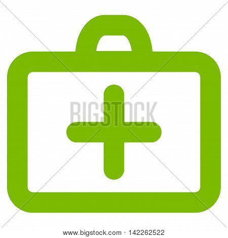 First Aid vector icon. Style is contour flat icon symbol, eco green color, white background.