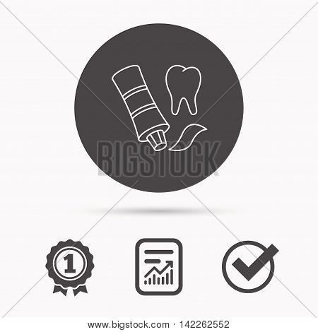 Toothpaste icon. Teeth health care sign. Report document, winner award and tick. Round circle button with icon. Vector