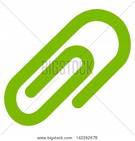 Paperclip vector icon. Style is contour flat icon symbol, eco green color, white background.