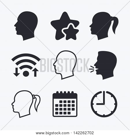 Head icons. Male and female human symbols. Woman with pigtail signs. Wifi internet, favorite stars, calendar and clock. Talking head. Vector
