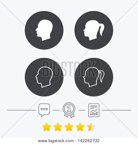 Head icons. Male and female human symbols. Woman with pigtail signs. Chat, award medal and report linear icons. Star vote ranking. Vector