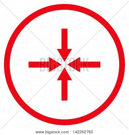 Impact Arrows vector icon. Style is flat rounded iconic symbol, impact arrows icon is drawn with red color on a white background.
