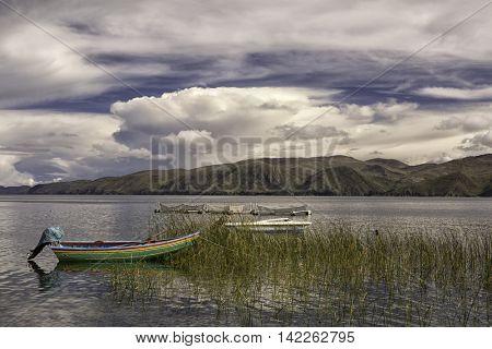 Traditional fishing boat on lake Titicaca, Isla de la Luna Bolivia.