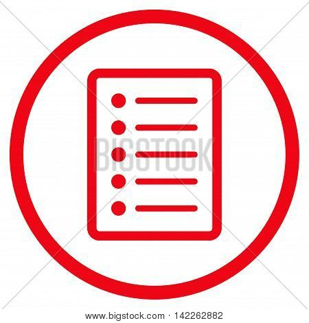 List Page vector icon. Style is flat rounded iconic symbol, list page icon is drawn with red color on a white background.
