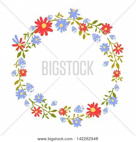 Floral wreath, hand drawn frame with place for text. Nature inspired garland with red and blue flowers. Vector design for cards and invitations.
