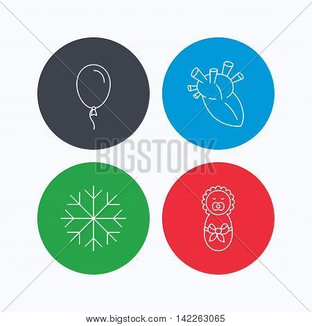 Newborn, heart and air balloon icons. Snowflake linear sign. Linear icons on colored buttons. Flat web symbols. Vector