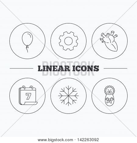 Newborn, heart and air balloon icons. Snowflake linear sign. Flat cogwheel and calendar symbols. Linear icons in circle buttons. Vector